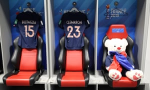 A cuddly toy takes a seat in the France dressing room.