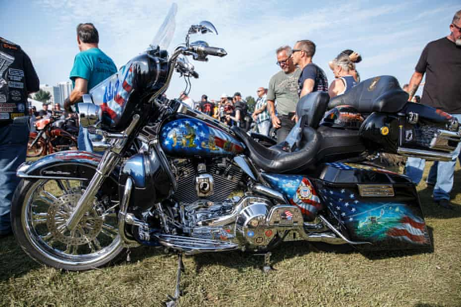 A custom-painted bike on display in Veterans Park, on the shore of Lake Michigan.
