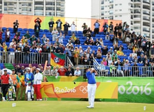 Adilson da Silva of Brazil plays his shot from the first tee.