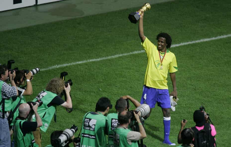 Roque Junior celebrates after Brazil beat Argentina in the Confederations Cup final in 2005.