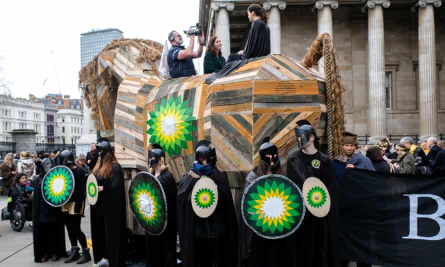 Climate change activists protest against BP at the British Museum in London.