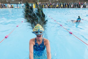 Cold Water Swimming Championships, London, UK - 28 Jan 2017Mandatory Credit: Photo by Richard Isaac/REX/Shutterstock (8136790bk) Swimmers compete in a Best Hat competition at The 7th UK Cold Water Swimming Championships at Tooting Bec Lido Cold Water Swimming Championships, London, UK - 28 Jan 2017