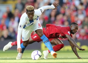 Liverpool's Naby Keïta falls as Brighton's Yves Bissouma takes control at Anfield. Mohamed Salah scored to win the game for The Reds and move them to the top of the Premier League. Liverpool have won their past six matches against Brighton in all competitions, scoring 21 goals and conceding five.