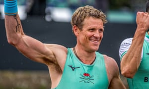 James Cracknell after finishing in the winning Cambridge University crew in the annual men's Boat Race on 7 April 2019