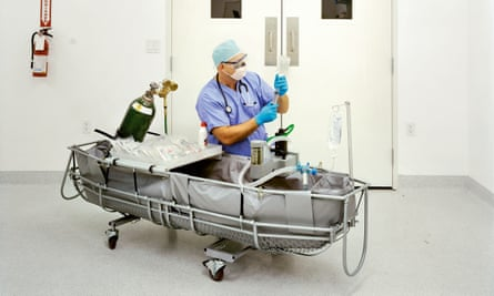 Aaron Drake, medical response director, prepares stabilisation medications to be used during the initial stages of a cryopreservation, Alcor Life Extension Foundation, Arizona