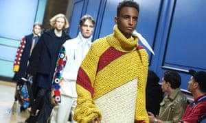 Models present creations by JW Anderson at the autumn/winter 2017 London men's fashion week
