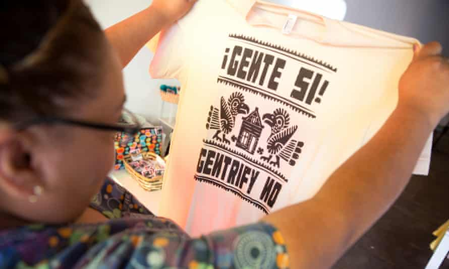 'People Yes! Gentrify No!' ... protest T-Shirts for sale in Boyle Heights, Los Angeles.