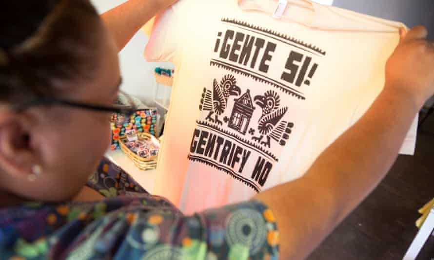 T-Shirts for sale at Espacio 1839 in Boyle Heights: 'People Yes!, Gentrify No!'