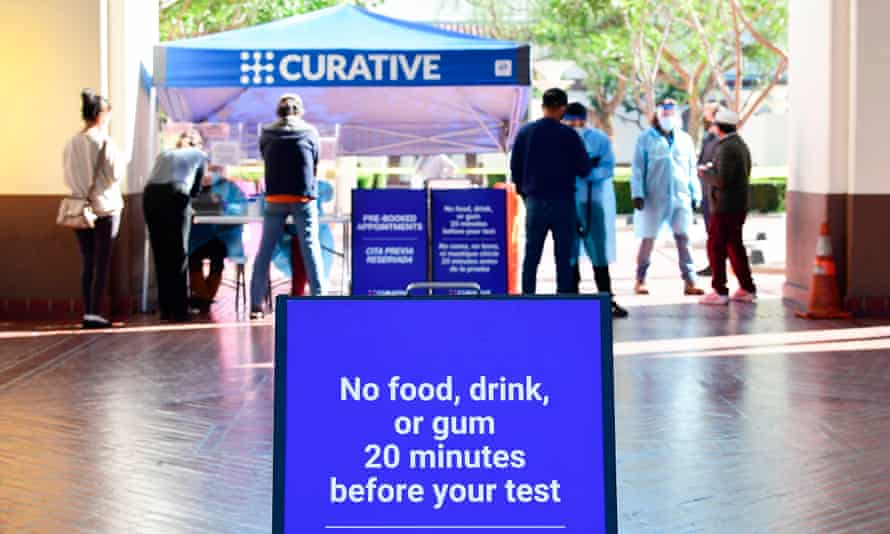 People arrive for a coronavirus test at Union Station in Los Angeles, California, on 13 November 2020.