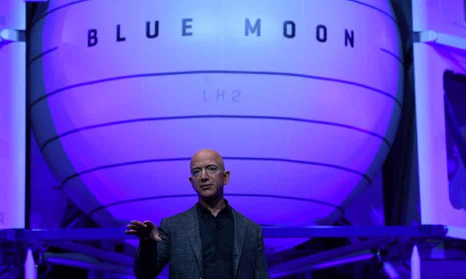 Jeff Bezos unveils Blue Origin's space exploration moon lander in Washington.