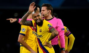 Arturo Vidal reacts after referee Felix Brych showed him a second yellow card.