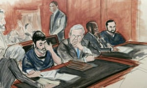 A sketch of Efrain Antonio Campo Flores, second from left, appearing with his cousin Franqui Francisco Flores De Freitas, far right, in Manhattan federal court.