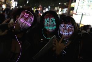 Hi-tech Halloween outfits at the Shibuya celebrations.