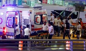 Ambulances arrive at Turkey's largest airport, Istanbul Ataturk, Turkey, following the terror attacks.