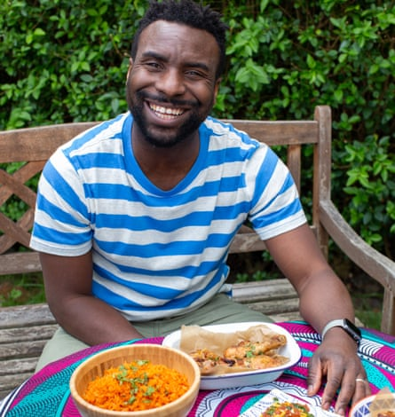 Jimi Famurewa with his lockdown dishes of jollof rice, roast chicken, steamed yam with corned beef stew and fried plantain.