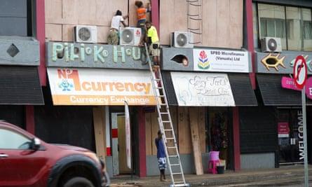 Shops are boarded up in Vanuatu's capital of Port Vila ahead of Tropical Cyclone Harold.