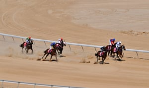 The runners and riders come around the turn during race 2