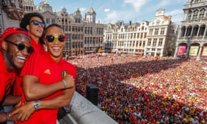 Belgium players greet the public in Brussels after their third-place finish at the World Cup.