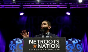 Chokwe Antar Lumumba, the mayor of Jackson, Mississippi, speaks at the Netroots Nation annual conference in New Orleans, Louisiana, on 2 August.