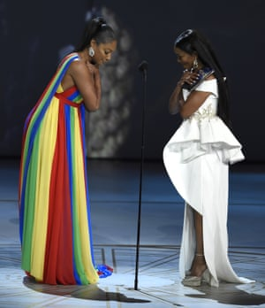 Tiffany Haddish, left, and Angela Bassett present the award for outstanding lead actress in a comedy series