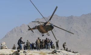 An Afghan air force helicopter during a military exercise on the outskirts of Kabul.