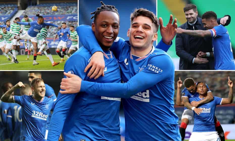 Joe Aribo scores against Celtic in January; Joe Aribo and Ianis Hagi celebrate; manager Steven Gerrard and James Tavernier; forward Alfredo Morelos; midfielder Scott Arfield.