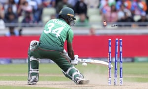 Bangladesh's Rubel Hossain is bowled out.