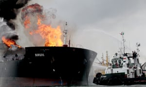 Fire on a tanker belonging to the Mexican state oil company Pemex in the Gulf of Mexico.Fire on oil tanker