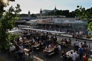 Customers on the terrace of the cafe-restaurant boat Rosa Bonheur sur Seine in Paris
