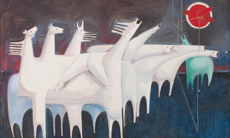 Fatigued Ten Horses Converse with Nothing (The Martyr's Epic), by the Iraqi artist Kadhim Hayder