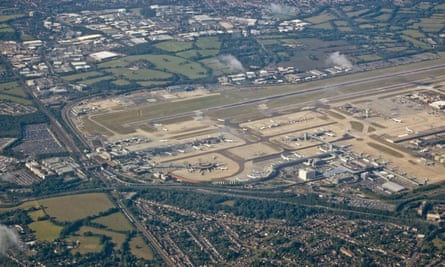 Aerial view of Gatwick airport with the residential areas of Hookwood and Horley in the foreground.