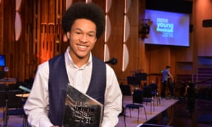 2016 BBC Young Musician winner, cellist Sheku Kanneh-Mason at the Barbican in London.