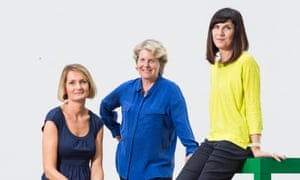 Founders and leaders of the Women's Equality Party Sandi Toksvig (blue shirt), Catherine Mayer (yellow shirt) and Sophie Walker taken on 25 September