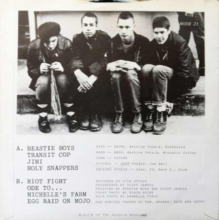 The Beastie Boys' Polly Wog Stew EP from 1982, with John Berry, second right, in the lineup.