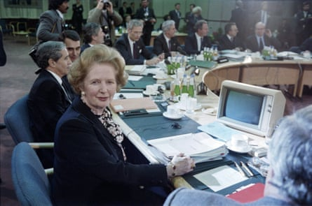 British prime minister Margaret Thatcher chairs the 1986 EEC economic summit in London