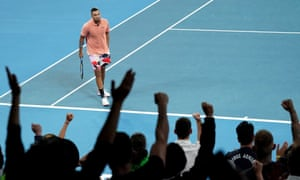 A winner from Nick Kyrgios is cheered to the rafters by fans at the Melbourne Arena.