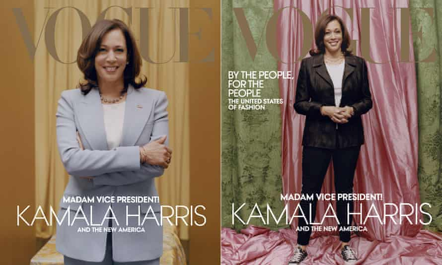 This combination of photos released by Vogue shows images of Vice President-elect Kamala Harris on the cover of their February digital and print issues.