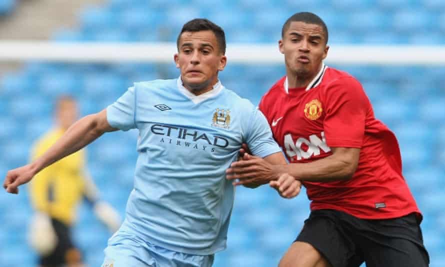 Omar Elabdellaoui in action for Manchester City's reserves against Manchester United in 2012.