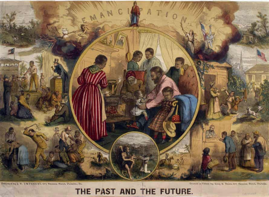 A 1865 print commemorates the fulfillment of the promise of Lincoln's Emancipation Proclamation, two years after its signing.