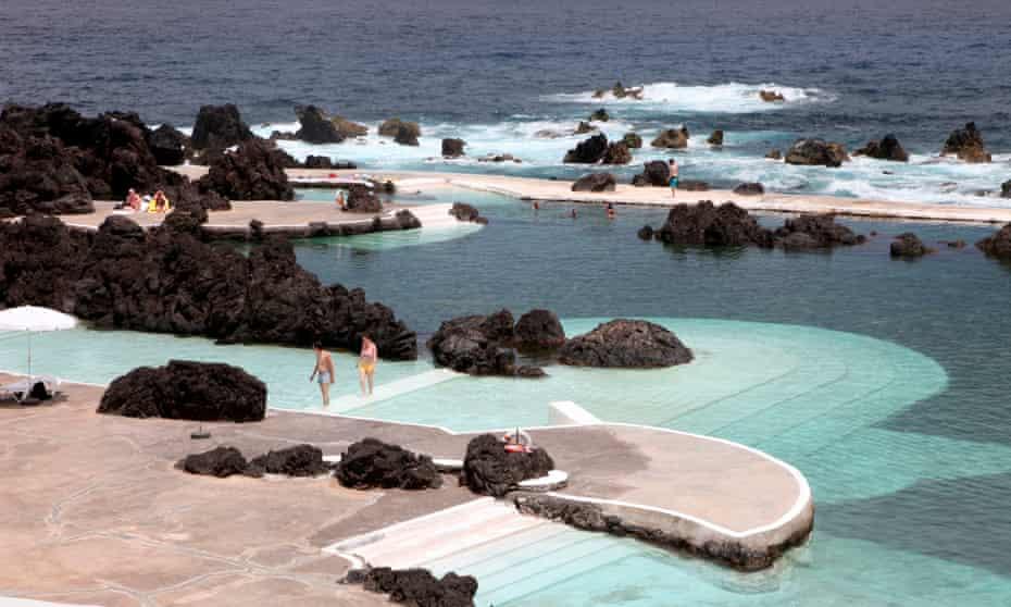 The natural volcano swimming pool at Porto Moniz, Madeira.
