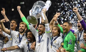 Real Madrid captain Sergio Ramos lifts the Champions League trophy in Cardiff.