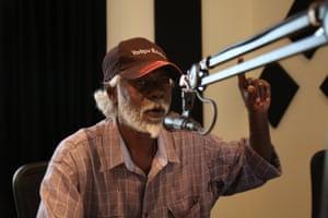 Andrew Garruwiwi, an announcer for Yolngu Radio.