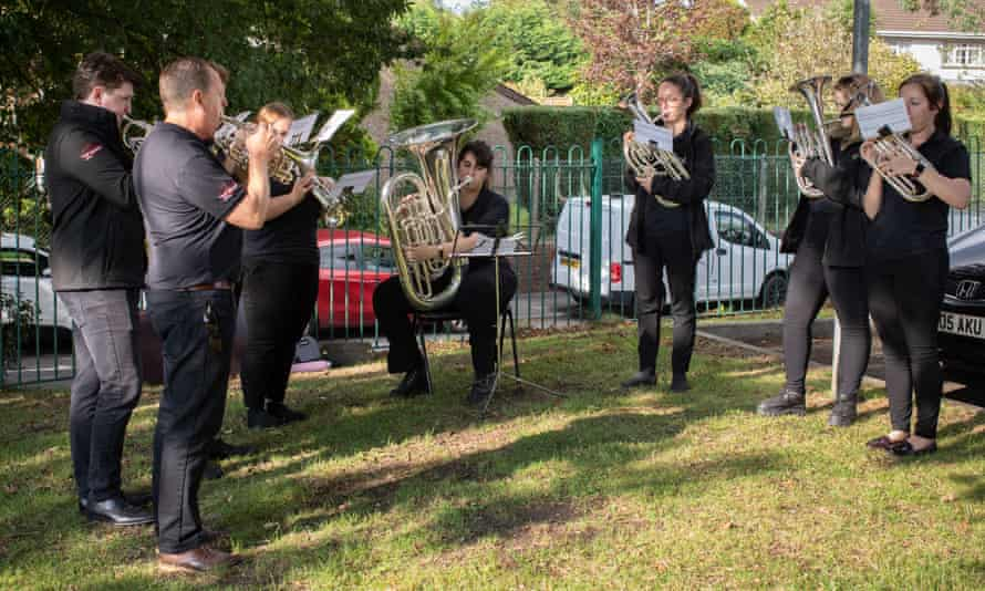 A local brass band play during the ceremony to mark the 10th anniversary of the Gleison mine disaster.