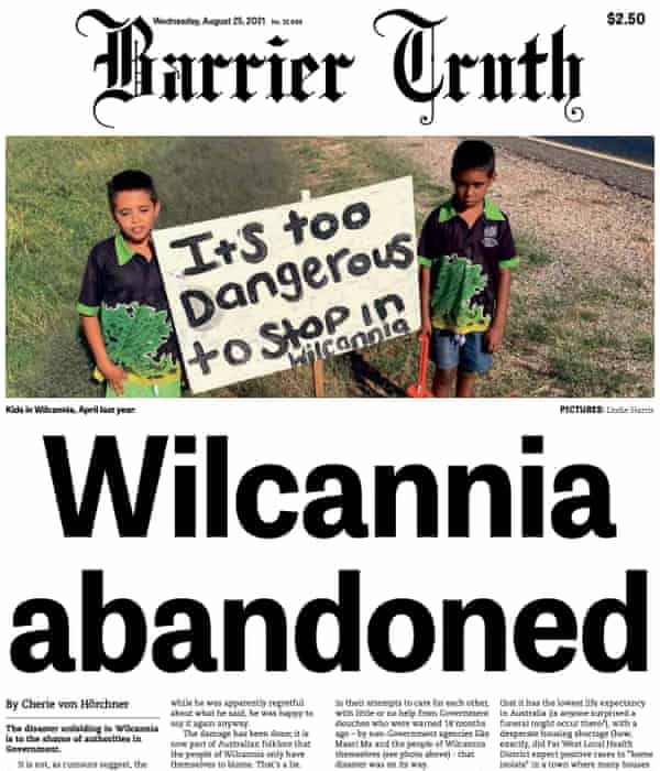 The front page of the Barrier Truth, Wilcannia's local paper.