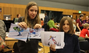 Frog Winter Olympics with Kevin Whitney at the Guardian cartoon and art family day.