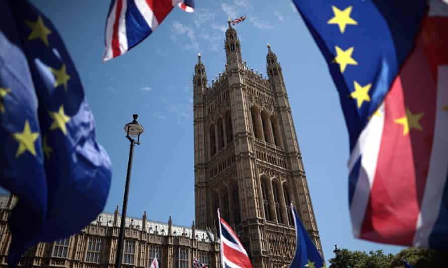 Parliament, EU flags.