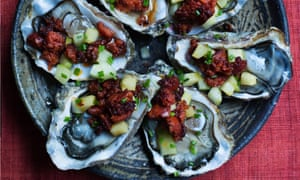 Shell out: oysters with chorizo.