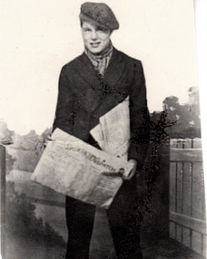 Teenage Johnny Longstaff selling newspapers in 1934.