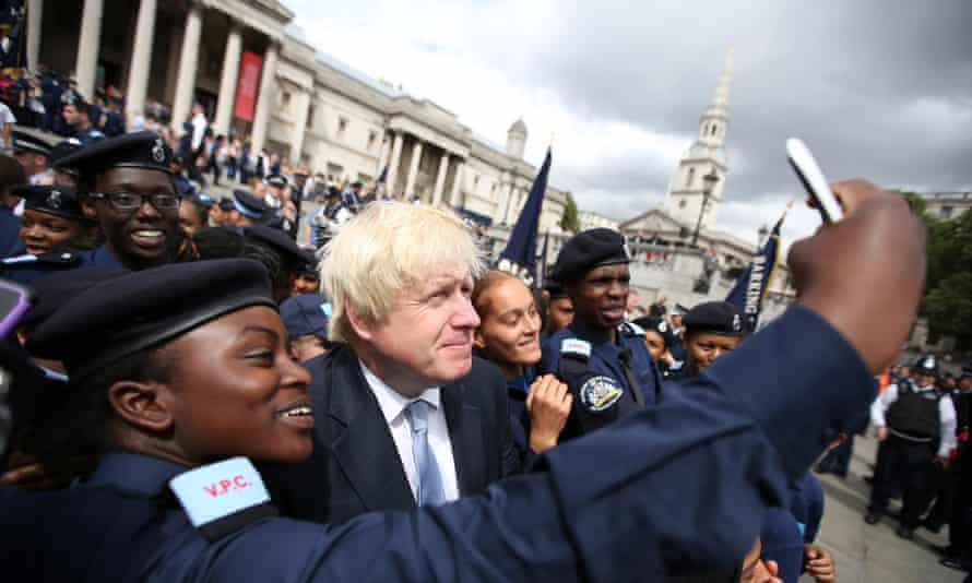 Boris Johnson joins the selfie action at the volunteer police cadet parade in London's Trafalgar Square on 3 August.