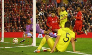 Adam Lallana turns in the third goal past Alphonse Areola.